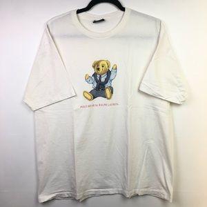 VTG Polo Bear Ralph Lauren T Shirt L Sit Down 90s